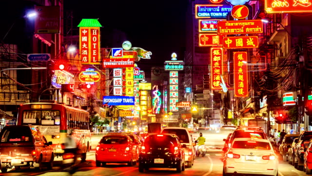 hd time lapse,yaowarat road in bangkok chinatown at night - chinatown stock videos & royalty-free footage