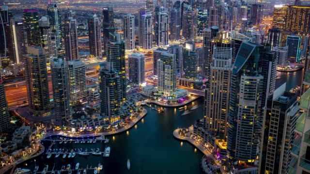 time laspe of dubai marina at dusk - dubai stock videos & royalty-free footage