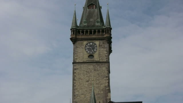 (hd1080i) time: old european tower clock, zoom in and out - eastern european culture stock videos & royalty-free footage