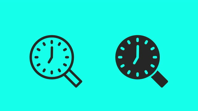time search icons - vector animate - magnifying glass stock videos & royalty-free footage