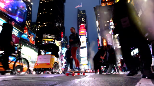 cinemagraph -time square broadway crowd. - yellow taxi stock videos and b-roll footage