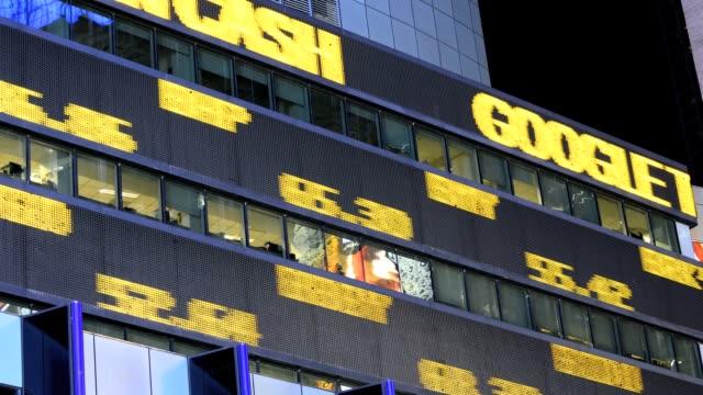 LAPSE Time Square Broadway Morgan Stanley headquarters building stock market data ticker tape Manhattan New York City USA