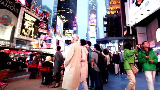 time square broadway new york crowd - yellow taxi stock videos & royalty-free footage