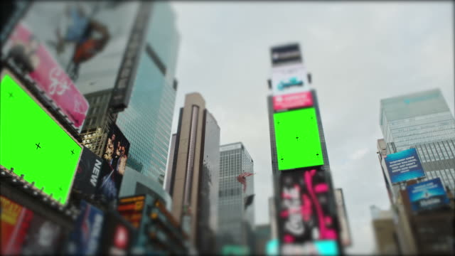 time square new york city manhattan chromakey with tracking marks - billboard stock videos & royalty-free footage