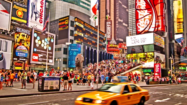 time square. new york - yellow taxi stock videos and b-roll footage