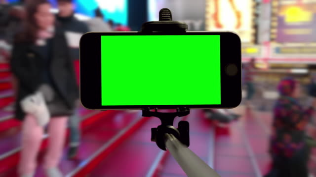 time square people crowd green screen chromakey nyc mobile smartphone - times square manhattan stock videos & royalty-free footage