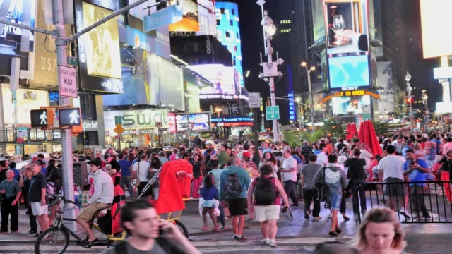 time square people traffic new york city time lapse time square new york city on august 04 2013 in new york city new york - 2013 stock-videos und b-roll-filmmaterial
