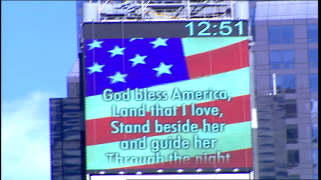 time square post 9/11 with memorials and flags - 2001 stock videos & royalty-free footage