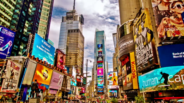 time square - commercial sign stock videos and b-roll footage