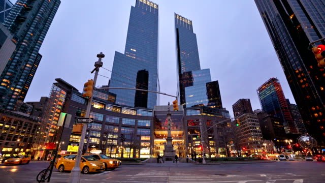 time warner center at columbus circle in the evening - time warner center stock videos & royalty-free footage