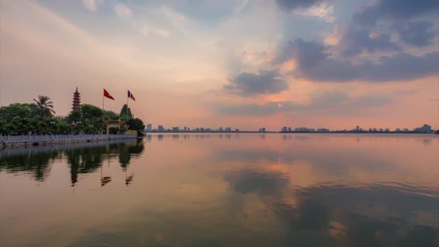 timelape sunset tran quoc pagoda, hanoi - vietnam stock videos & royalty-free footage