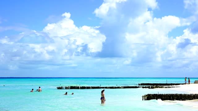 time-lape:carribean cancun sandy beach sunrise in mexico - caribbean sea stock videos & royalty-free footage