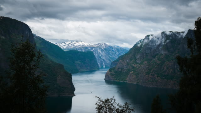 4k timelapes : beautiful fjord scenery - stock video - multiple exposure stock videos & royalty-free footage