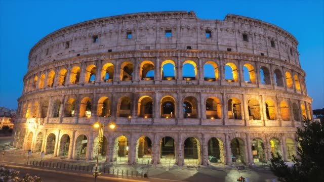 timelapes : colosseum at dusk, rome, italy - international landmark stock videos & royalty-free footage