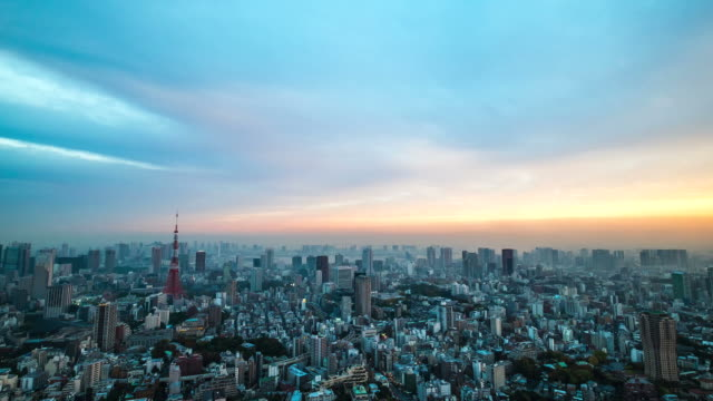 timelapes of aerial view tokyo tower japan - tokyo japan stock videos and b-roll footage