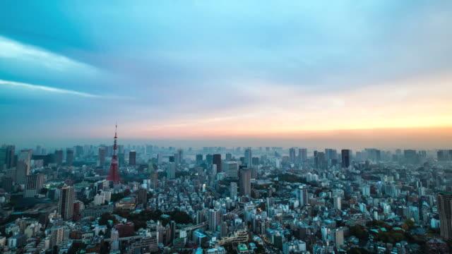 Timelapes of Aerial view Tokyo tower Japan