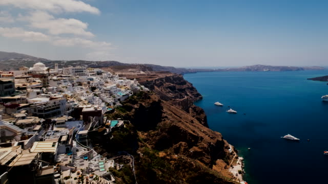 4k timelapes : village of fira in santorini island, greece - oia santorini stock videos & royalty-free footage