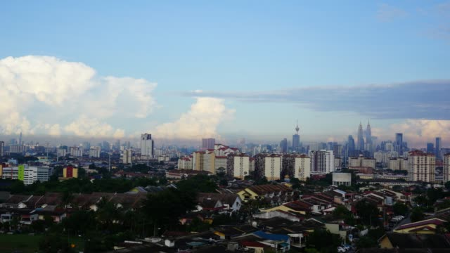 Timelappse of moving clouds over Kuala Lumpur, Malaysia