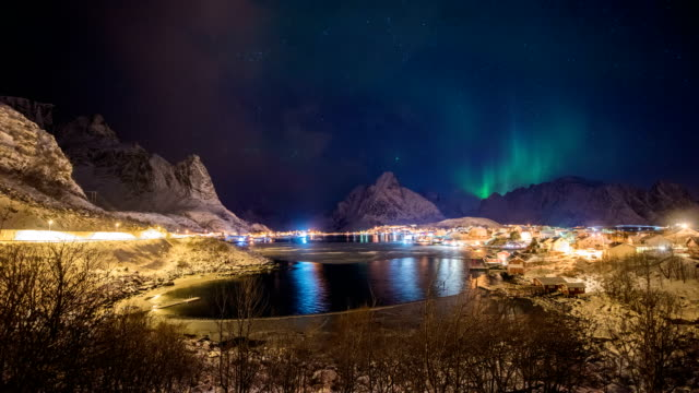 4k timelaps :aurora lofoten islands the county of nordland, norway. - nordland county stock videos & royalty-free footage
