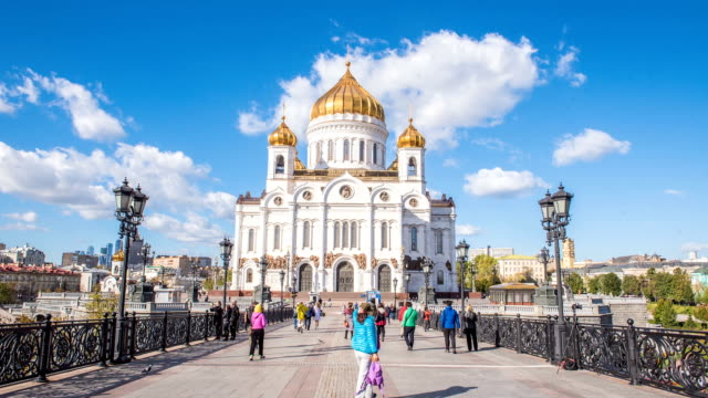 hd timelaps : cathedral of christ the saviuor on september 04 2015, moscow, russia. - onion dome stock videos and b-roll footage