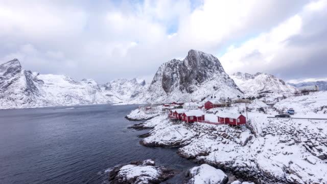 4k timelaps : fishing hut in the hamnoy - reine, lofoten islands, norway - nordland county stock videos & royalty-free footage