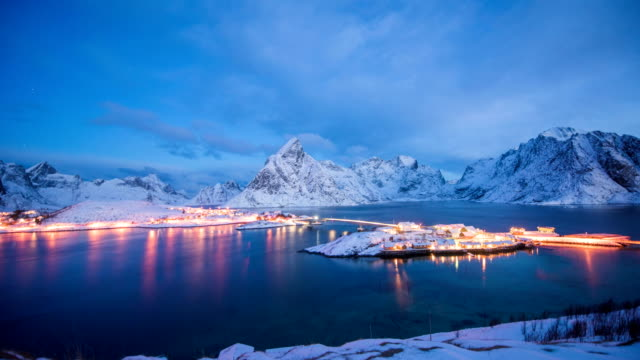 4k timelaps : panoramic view to reinefjorden with mountains on background - reine, lofoten islands, norway - nordland county stock videos & royalty-free footage