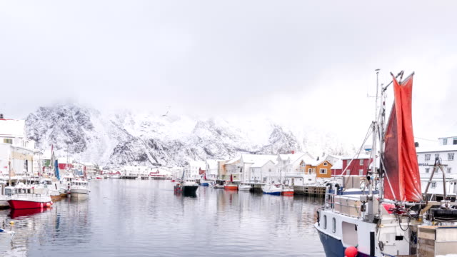 4k timelaps : scenic view of the waterfront harbor in svolvaer in summer. svolvaer is a fishing village and tourist town located on austvagoya in the lofoten islands. - 1918 stock videos & royalty-free footage