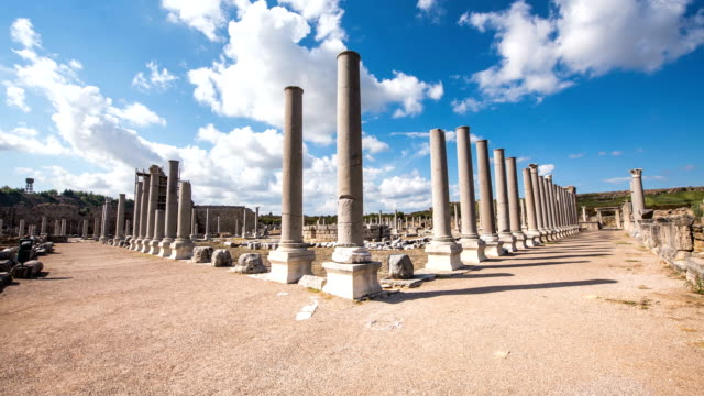 4K Timelaps-Ancient ruins of Perge. Agora.Turkey.