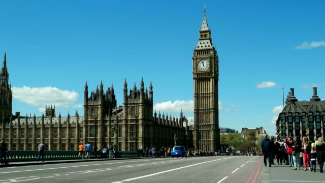 Time-lapse. 12.00 o'clock. mid day. London, Big Ben. Blue sky.