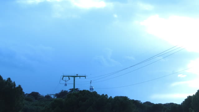 Timelapse 4K Cable car with blue sky