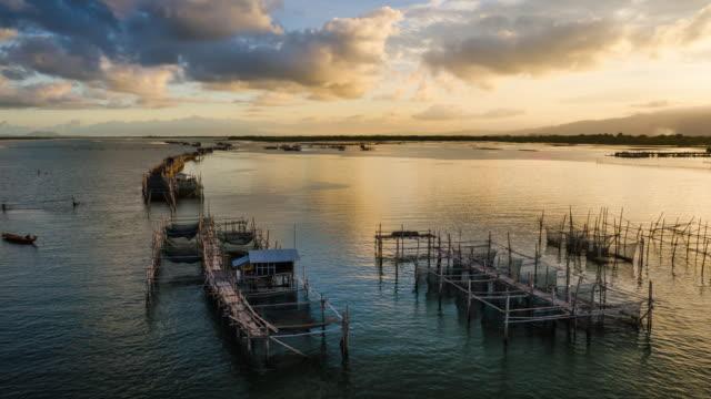 Timelapse 4K - Shellfish farm in gulf of Thailand.