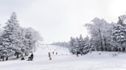 Time-lapse 4K: Traveler skiing at ski slopes in japan. Panning camera.
