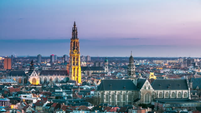 4K time-lapse: Aerial Antwerp ancient town Belgium sunset
