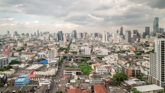 time-lapse aerial bangkok downtown skylines with highway - king of thailand stock videos and b-roll footage