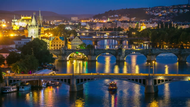 4K Time-lapse: Aerial Bridges on Vltava, Prague dusk Czech Republic