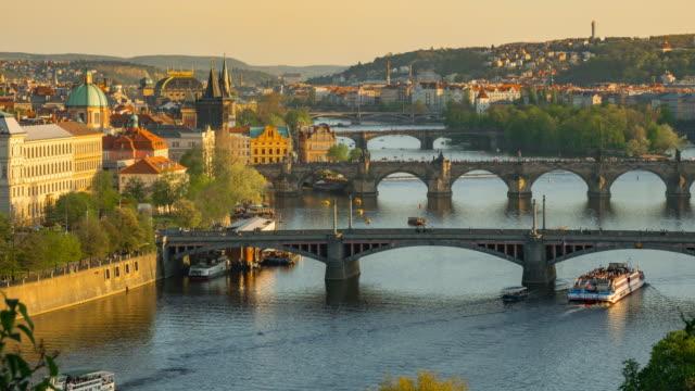 time-lapse: aerial bridges on vltava river, prague czech republic - prague stock videos & royalty-free footage