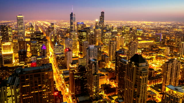 hd time-lapse: aerial chicago skyline cityscape at dusk, usa - panning stock videos & royalty-free footage