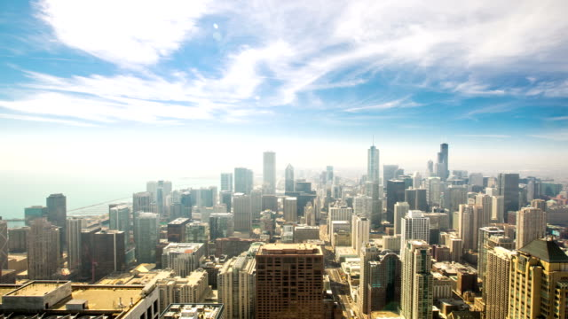 stockvideo's en b-roll-footage met hd time-lapse: aerial chicago skyline cityscape usa - pannen