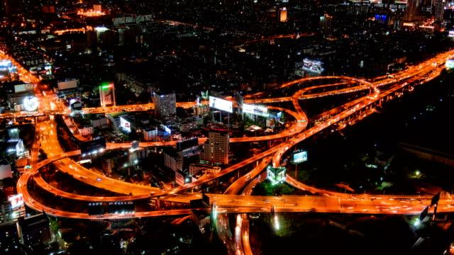 4 K Zeitraffer: Aerial Maß an Bangkok Stadtbild auf Sicht in der Nacht, Bangkok Thailand