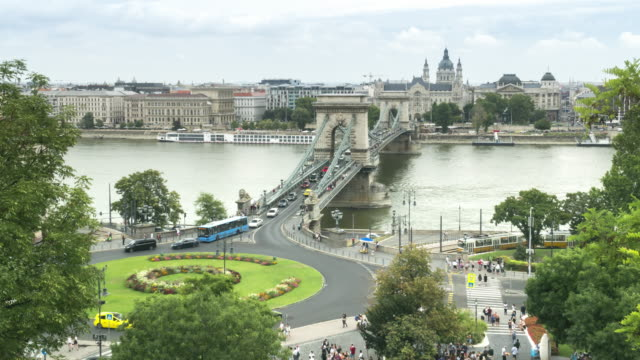 timelapse aerial front, tilt view of suspension history bridge and city in budapest, hungary, szechenyi chain bridge at weekend. many transportations, nautical vessel, tour boat along the danube river. concept of travel destination with urban skyline. - chain bridge suspension bridge stock videos & royalty-free footage