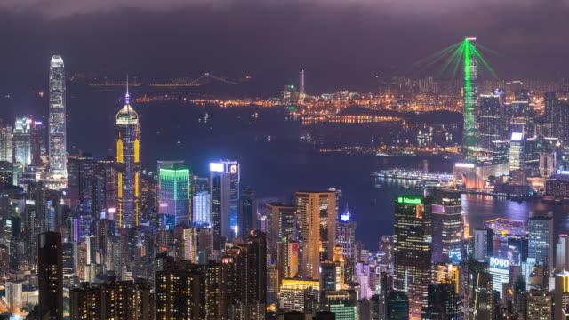 time-lapse: aerial hong kong skyline cityscape at dusk - hong kong video stock e b–roll
