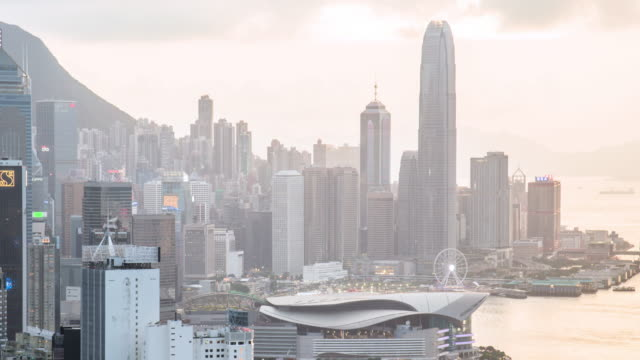 Time-lapse: Aerial Hong Kong Skyline Cityscape at dusk,Panning left Video 4k.