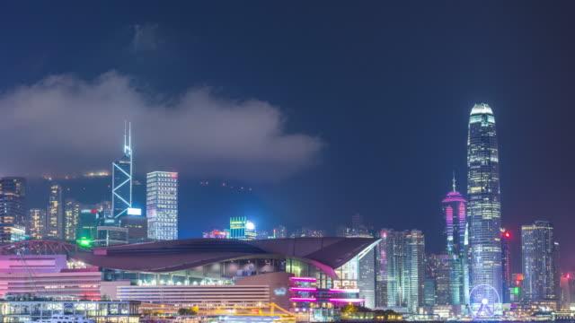 Time-lapse: Aerial Hong Kong Skyline Cityscape at dusk,Tilt down Video.