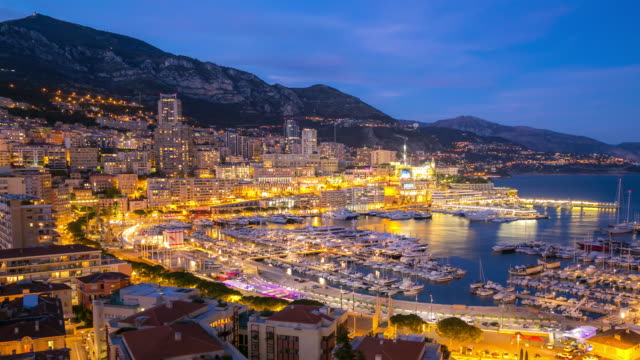 time-lapse: aerial monaco monte carlo harbour french riviera night - monte carlo stock videos & royalty-free footage