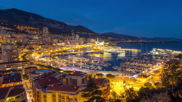 Time-lapse: Aerial Monaco Monte Carlo harbour french riviera night