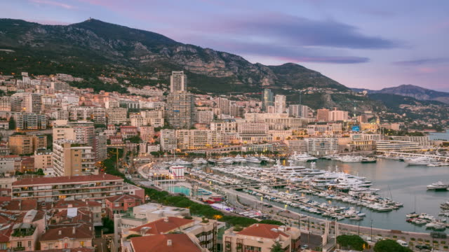 time-lapse: aerial monaco monte carlo harbour french riviera sunset - monte carlo stock videos & royalty-free footage