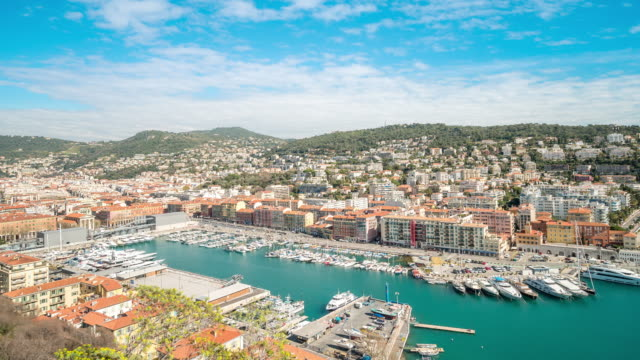 time-lapse: aerial nice marina port french riviera france - france stock videos and b-roll footage