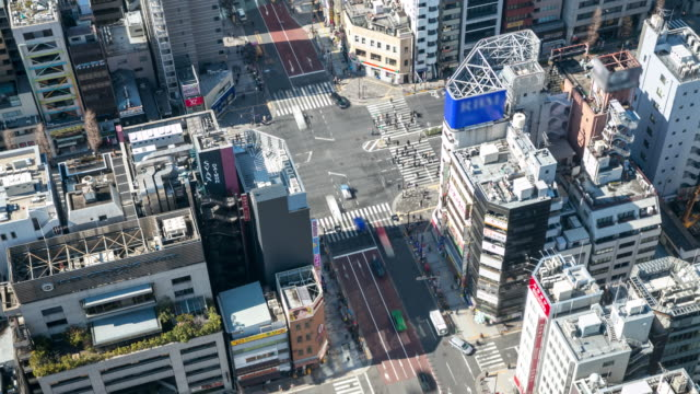 Time-lapse: Aerial Pedestrians cross at Tokyo downtown Crossing