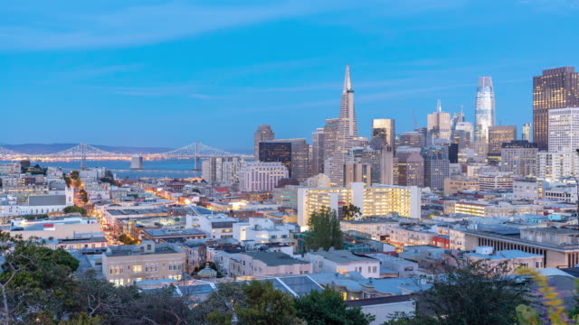 Time-lapse Aerial San Francisco downtown skyscrapers at dusk from ina coolbrith park, California, sunset, USA