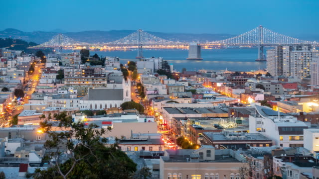 time-lapse aerial san francisco downtown skyscrapers at dusk from ina coolbrith park, california, sunset, usa - oakland california stock videos & royalty-free footage